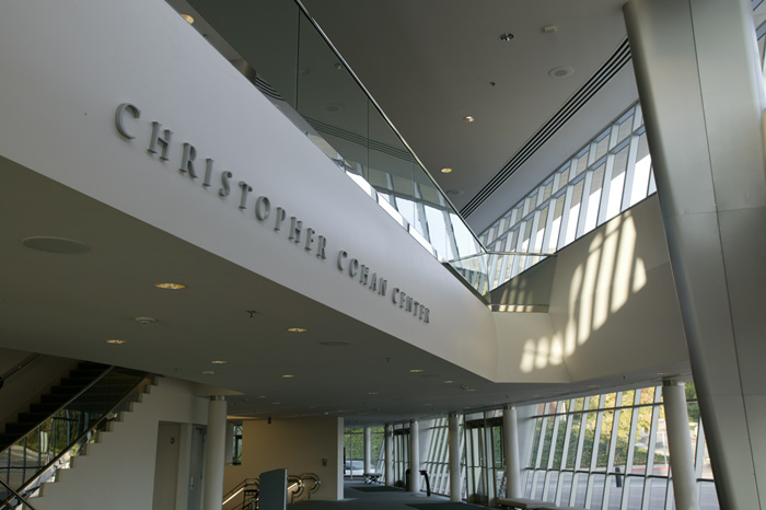 Christopher Cohan Center sign with lobby